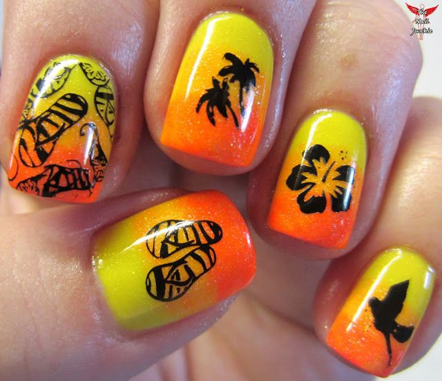 The Nail Junkie: Shimmer Jellies + Stamping = TROPICAL NAIL ART