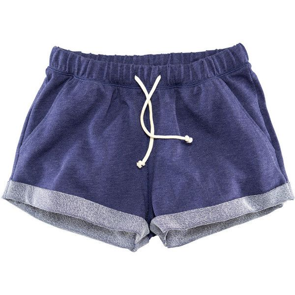 H&M Sweatshirt shorts ($12) ❤ liked on Polyvore featuring shorts, bottoms, pants, short, dark blue, short shorts, hot short shorts, micro short shorts, mini shorts and h&m