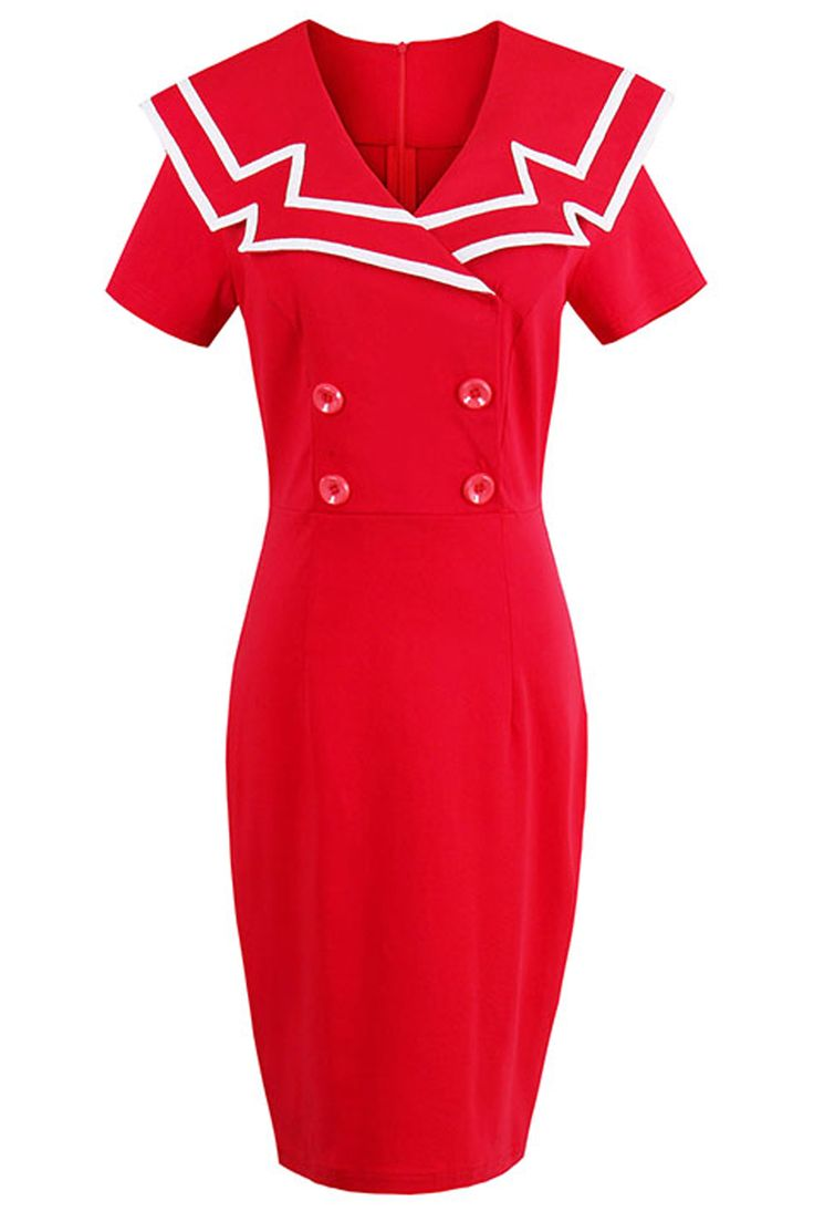 Show off your curves with our Atomic Red Sailor Crew Bodycon Dress. https://atomicjaneclothing.com/products/atomic-red-sailor-crew-bodycon-dress