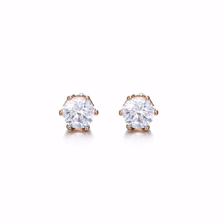 18ct Rose Gold Layered Small Stud Earring | Allure Gold