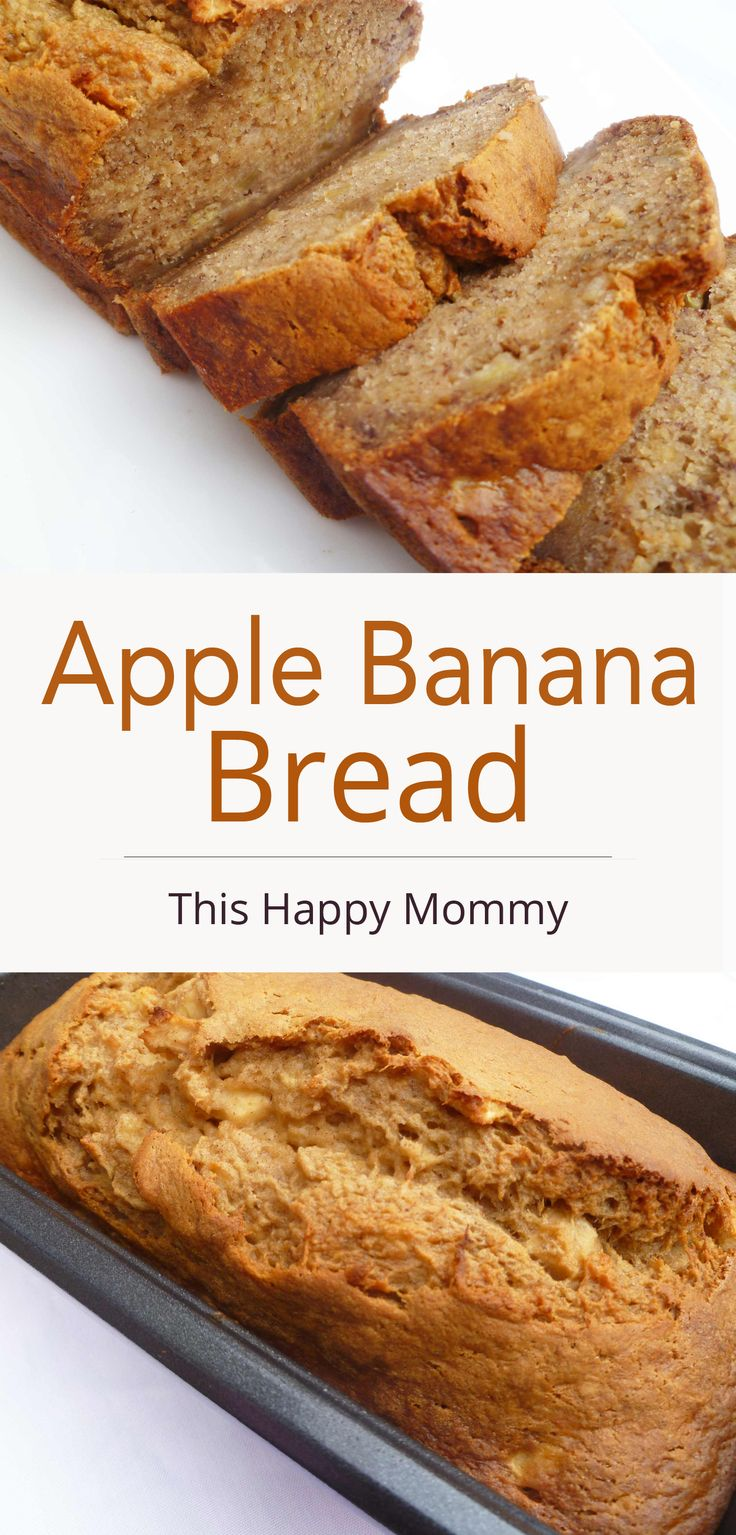 Apple Banana Bread — Naturally sweetened banana bread with bits of apple baked throughout. | thishappymommy.com