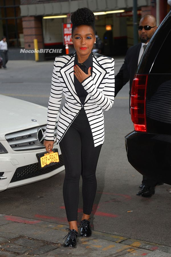 Janelle Monae spotted at a restaurant in NYC after the David Letterman Show loving the flashes.