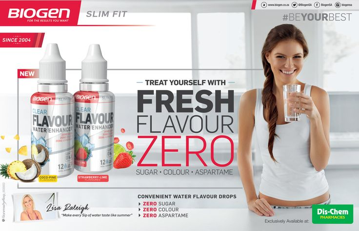 BIOGEN Slim Fit   Treat Yourself with Convenient Water Flavour Drops  - ZERO Sugar - ZERO Colour - ZERO Aspartame  Available at Dis-Chem Pharmacies. www.biogen.co.za