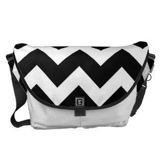 Black White Chevron Zigzap Pattern Courier Bag
