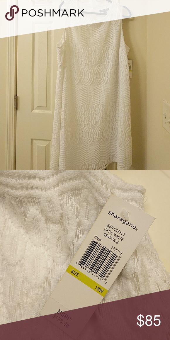 Brand new white tunic dress Fully lined beautiful crochet white tunic dress Sharagano Dresses