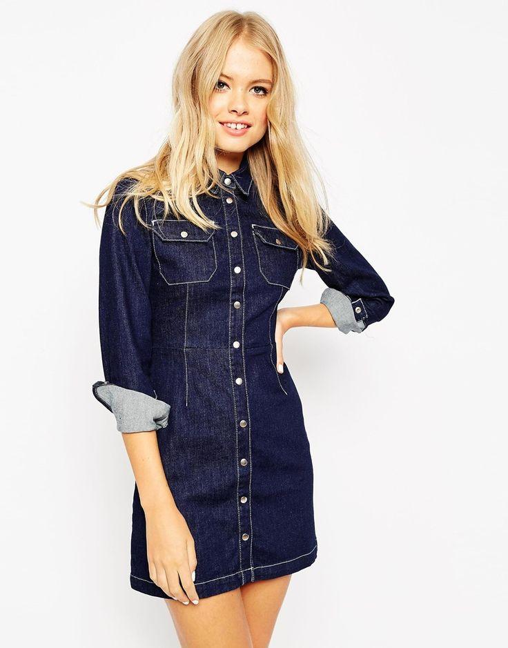 ASOS Denim Western A-Line Shirt Dress In Indigo
