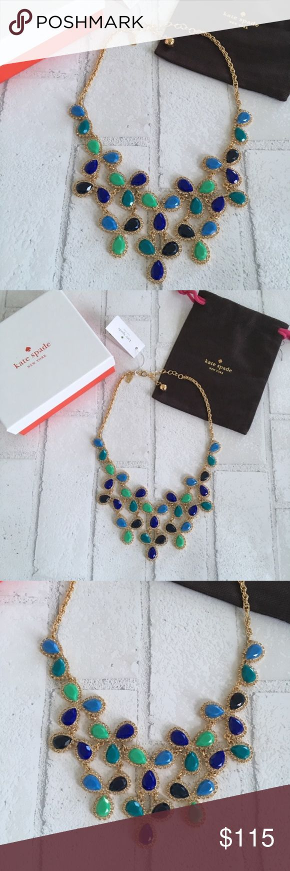 """Kate Spade Ballon Bouquet Blue & Gold Necklace Balloon Bouquet Statement Necklace Blue  17""""L with 3"""" extension Lobster clasp closure 2.5"""" frontal drop 14k gold-plated metal/resin/glass Authentic/Box & Dust Bag included.  No Trades Price is Firm unless Bundled.  2+ Items 10% Off 3+ Items 15% Off. kate spade Jewelry Necklaces"""