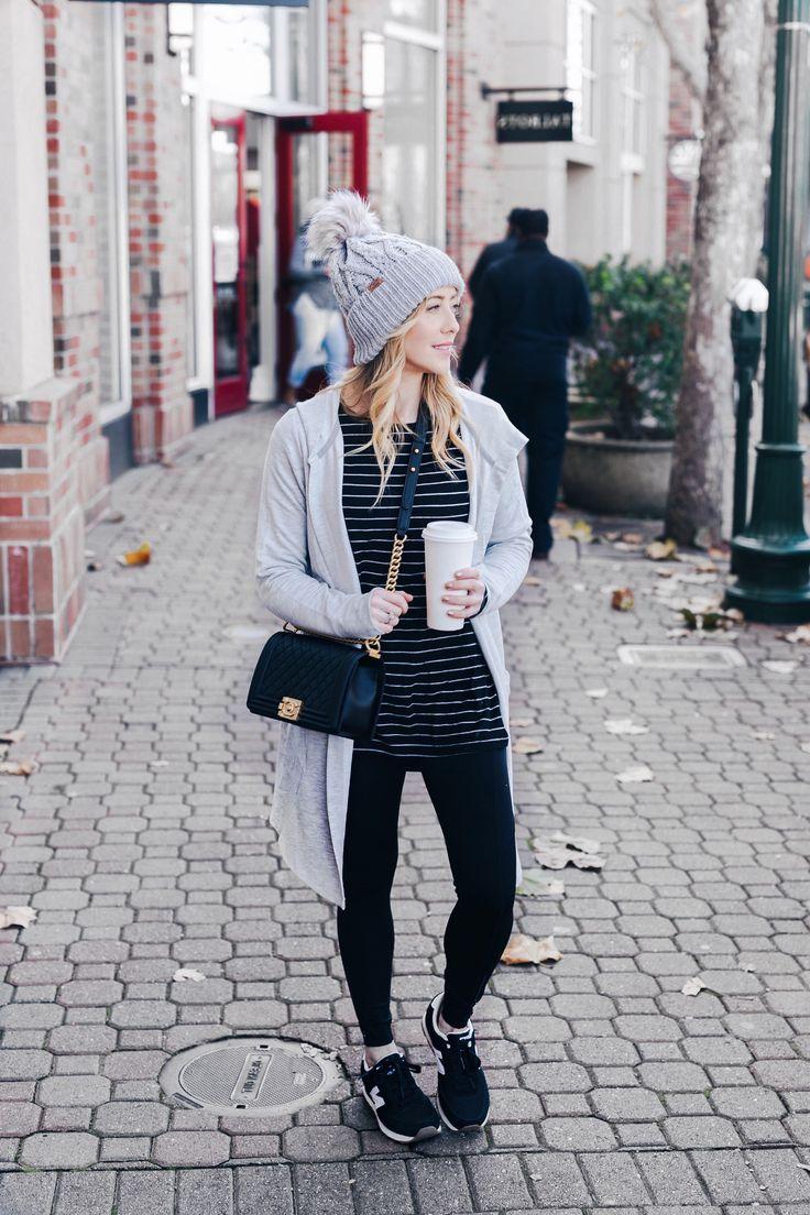 Rib-knit Hat, Side Slit Tee, leggings, long cardigan    #springstyle #springfashion #casualstyle