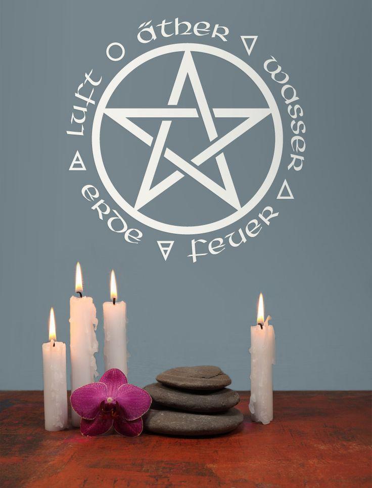 Best Details zu Wandtattoo Aufkleber Pentagram Pentagramm Pentakel Schutzkreis Hexe Gothic Wicca