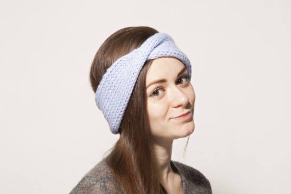Sky Blue Turban Ear Warmer Headband, Boho Knit Headband, Turban Headband Ear Warmer, Knitted Head Band, Light Blue Style Headband for Women
