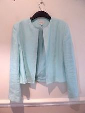 East 100% lin vert menthe raccourcie box veste avec brodé blanc bordure sz 14