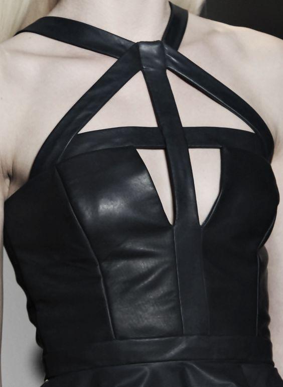 Line & Shape - structured black leather dress; geometric fashion details // Cushnie et Ochs: