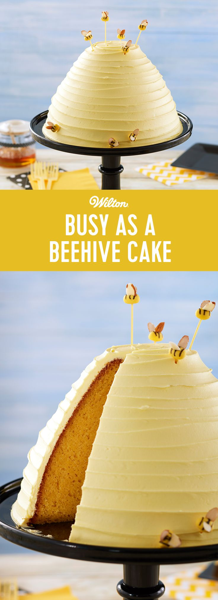 Busy as a Beehive Cake - If you're buzzing around from one task to another these days, this Busy as a Beehive Cake is for you! Easy to make and decorate, this bee-autiful cake is made using the Wilton Wonder Mold Pan and is embellished with cute fondant bees. A simple icing decoration makes this cake a crowning achievement for even beginning decorators, and would be great to serve for Mother's Day, a birthday or even for a mommy to bee! #wiltoncakes #birthdaycake #cakedecorating #baking