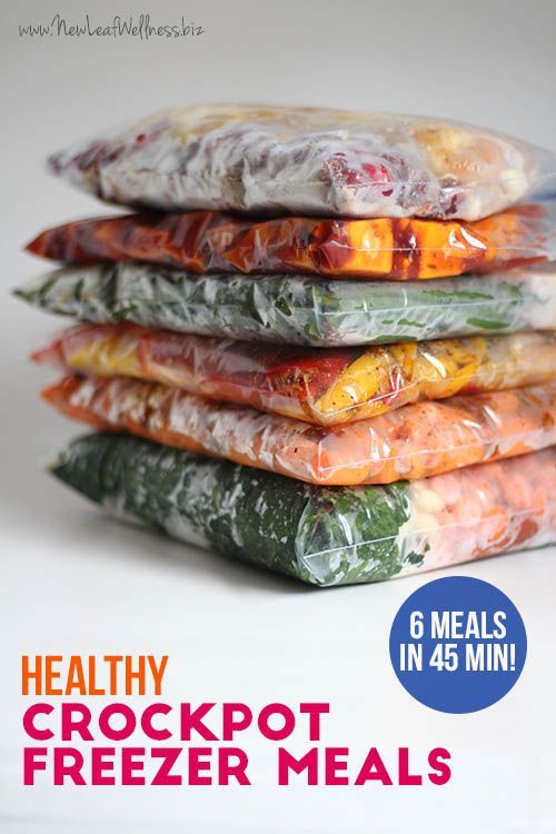 Kelly from New Leaf Wellness has put together a great list of 6 healthy crockpot freezer meals that can be made in under 45 minutes. Her free download includes grocery lists and recipes for all of the meals.