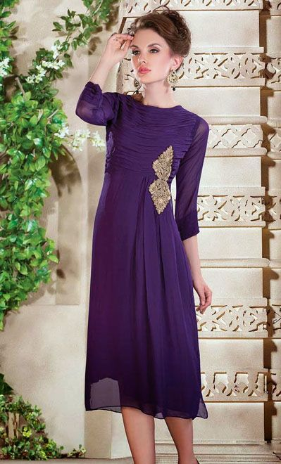 USD 72.05 Purple Faux Georgette Long Kurti    34978