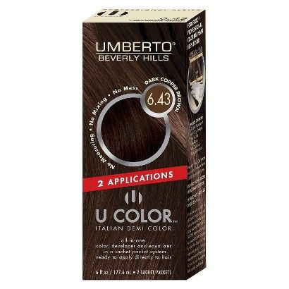 Umberto® Beverly Hills U Color Italian Demi Hair Color Dark Copper Brown- mix 6.43 and 7.43