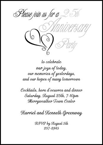 Guaranteed express processing, printing, and shipping on your exclusive 25th silver hearts wedding anniversary party invitations, currently discounted to 99¢ each with lots of anniversary invitation wording samples more party invites at http://www.invitationsbyu.com/25th-silver-wedding-anniversary.htm