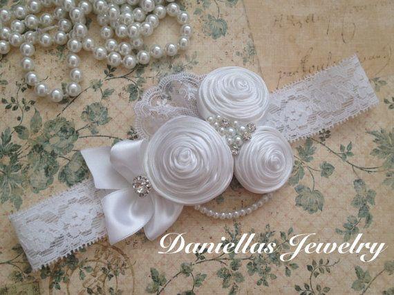 Baptism Vintage Headband/White Headband /baby Girl Headband /Headband/White flower girl /wedding /birthday /photo prop