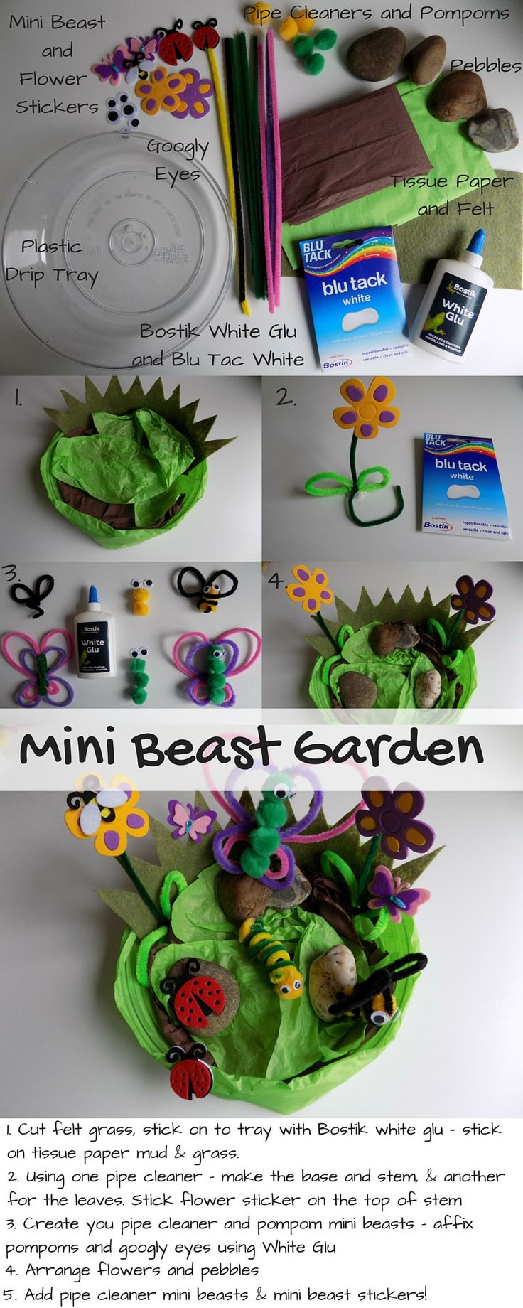Mini Beast Garden - toddler crafts - sharing an quick and easy to make mini beast garden complete with pompom and pipe cleaner mini beasts