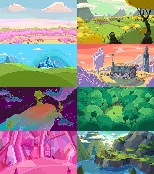 Adventure Time backgrounds The art direction on this show is aces.