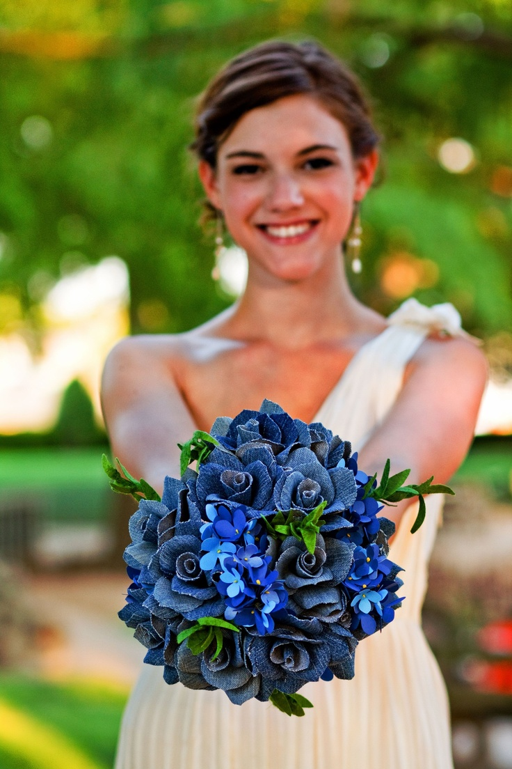 "love how all the different shades of blue ""pop"" in this denim and paper flower wedding bouquet!"