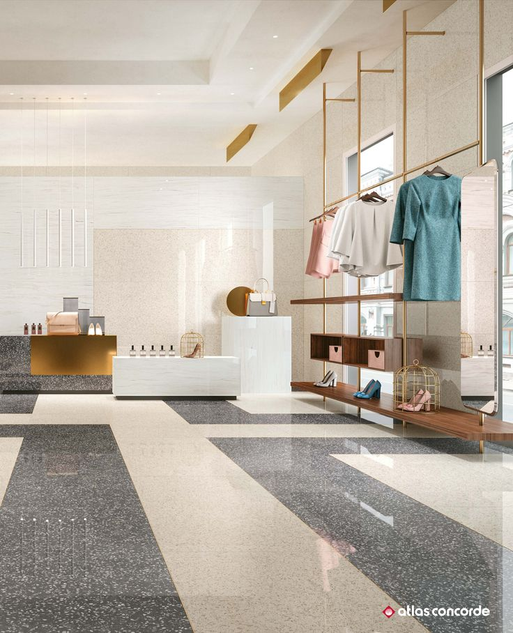 Terrazzo inspired porcelain tiles for elegant exhibition areas and showrooms