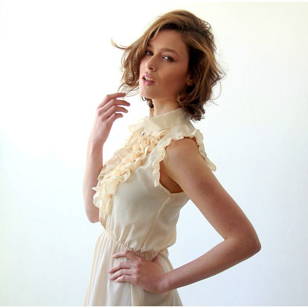 Pastel Yellow sundress , Women Ruffle Dress , Yellow Summer Dress, Short sleeves summer dress - All My DIBS - 1