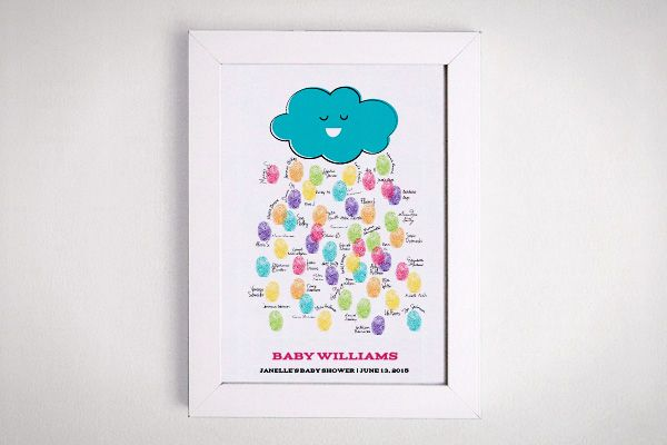"""FREE custom color & text baby shower guest book alternative!! FREE PRINTABLE baby shower guestbook. Happy Cloud Thumbprint rain baby shower keepsake // print this adorable cloud template in YOUR colors and have guests leave a thumbprint """"raindrop"""" great framed keepsake for the nursery or preserved in the baby book!"""