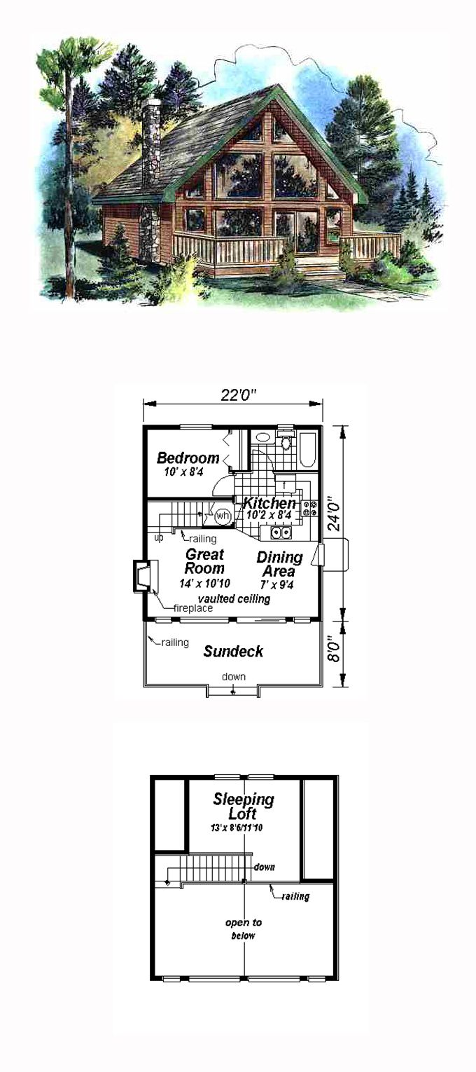 Contemporary style cool house plan id chp 15404 total living area 668 sq ft 2 bedrooms - Cool cottage plans ...