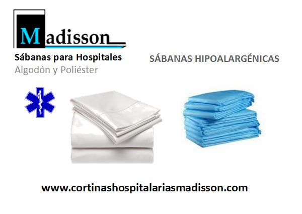 Suministramos sábanas para hospitales, en cajas de 100 unidades, se sirven en calidad algodón/poliérter, de fácil lavado no se arrugan, son hipoalargénicas. Consulte en nuestra web o llámenos por teléfono. www.cortinashospitalariasmadisson.com