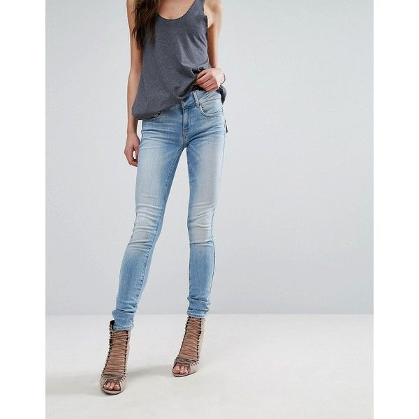 G-Star Midge Cody Mid Rise Skinny Jean with Zip Pocket Detail (160 CAD) ❤ liked on Polyvore featuring jeans, blue, skinny leg jeans, skinny fit denim jeans, tall jeans, zipper pocket skinny jeans and zip jeans