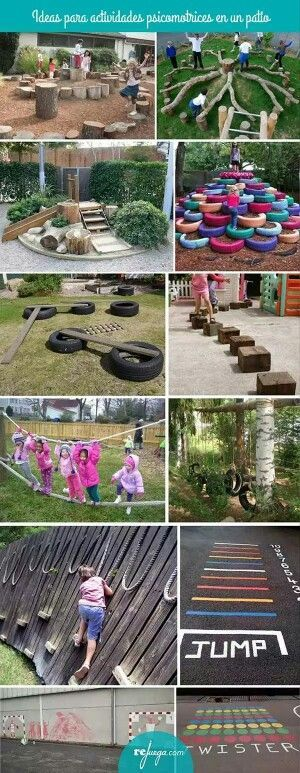 Chalk and tire ideas would be easy and free!