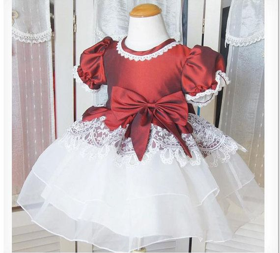 Lace Sleeves Flower Girl Dress Baby Girl Infant Toddler PAGEANT Party Birthday Wedding Bridesmaid Dress Christening Baptism Junior Dress