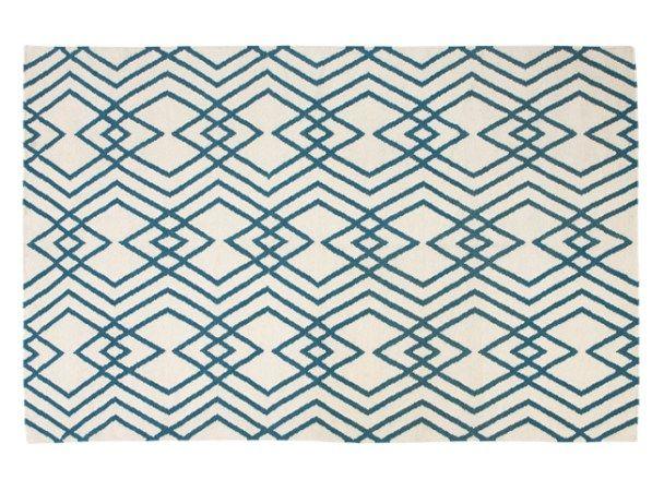 Lina Large Eastern Inspired Geo Wool Rug 160 x 230cm, Blue