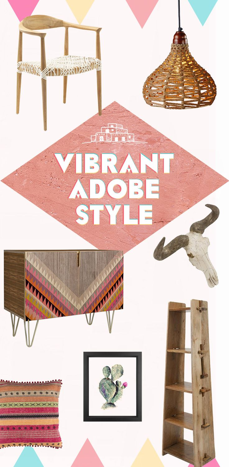 We're seeing a new trend in Southwest style: bright splashes of fuscia and hot pink that positively pop in an earthy setting. Don't be afraid to go bold: touches of pink in geometric patterns harmonize with the texture and woodgrain of sideboards and end tables. A few copper-toned pendant lights settle into the playful scheme. Drive it all home with a hide rug,  and maybe even some skull-themed décor. It's a new take on adobe, and we think it's here to stay. Shop Now at dotandbo.com!