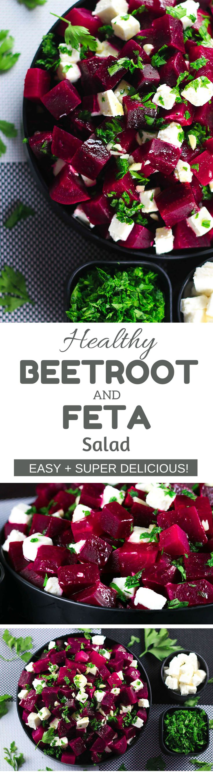 Healthy Beetroot and Feta Salad Recipe - This salad has the perfect balance of sweet and salty from the beetroot and feta cheese - SO good! Super | ScrambledChefs.com