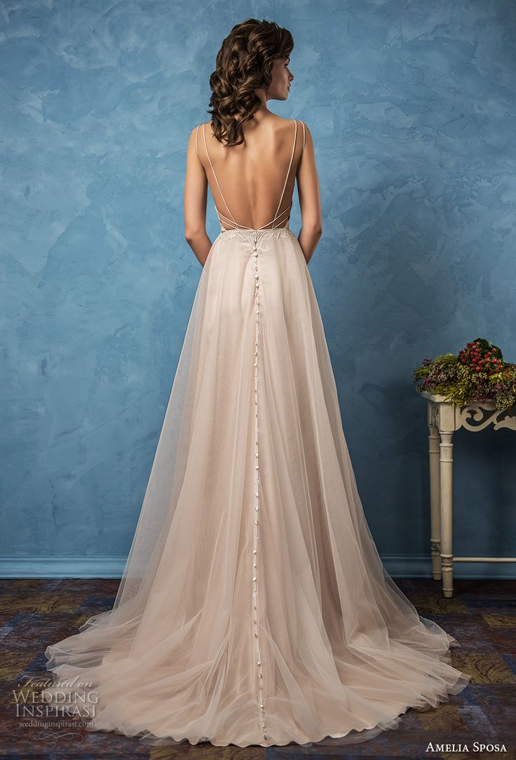 amelia sposa 2017 bridal sleeveless spagetti strap sweetheart neckline heavily embellished bodice rose gold color romantic a  line wedding dress low back chapel train (carla) bv