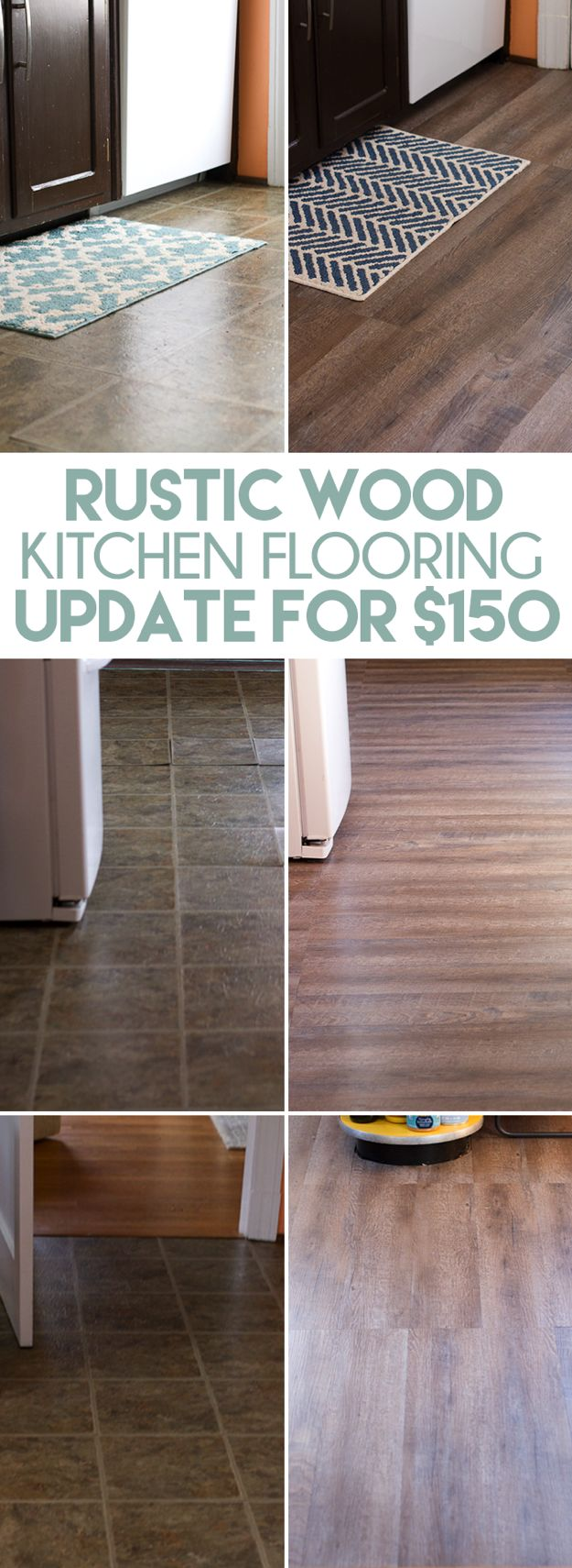 diy rustic wood plank flooring for cheap how we replaced our kitchen flooring with - Cheap Kitchen Floor Ideas
