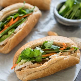 Easy Banh Mi sandwiches are a little spicy, packed with flavor and comes together in no time!