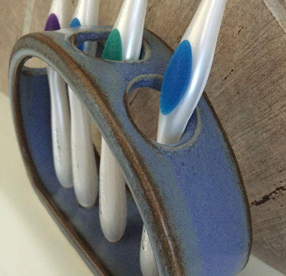 Toothbrush Holder Ceramic Soft Blue by BTRceramics on Etsy