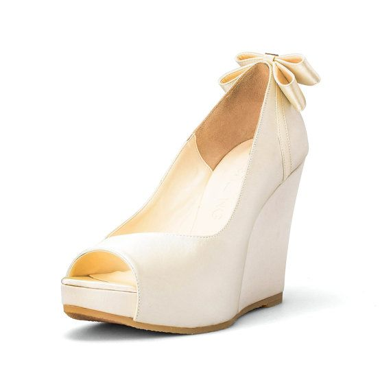 Custom Made Wedges Ivory White Wedding Wedges by ChristyNgShoes
