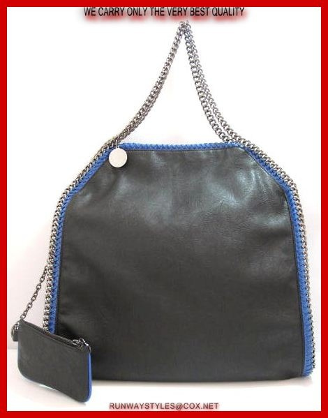 "Stella McCartney Falabella Chain Black W Blue Whipstitched Trim.  Vegan-friendly faux leather with subtle sheen.   Blue whipstitching & silvertone curb-chain trim.   ""Stella McCartney"" charm hangs from top handles; 9"" drop.   Dipped top with magnetic-snap closure.   Slouchy, yet structured body.   Fabric lining; inside zip and open pockets.   Measures 16"" long, 16"" high, 4"" deep. 8"" drop.  Coin purse included."