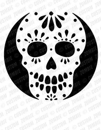 Pumpkin Stencil Sugar Skull Carving Crafts by CustomZombie (pumpkin,stencil,halloween,crafts)