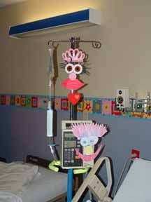 IV pole pals, cute arts and crafts idea to use to help children adjust to the hospital environment by allowing them to do age appropriate art and play.