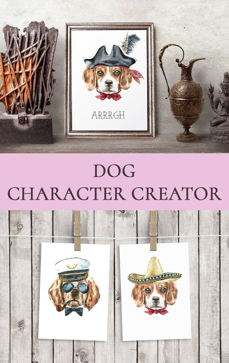 Watercolor Dog Breed Animal Clipart Wall Art Nursery Printable