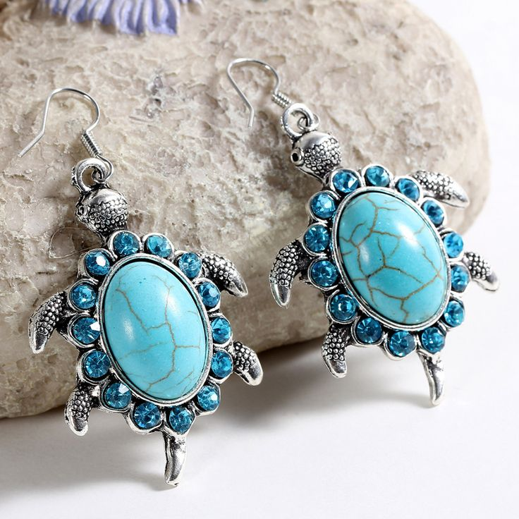 Zoshi nieuwe mode tibetant zilveren vintage dieren schildpad kristal kralen natuurlijke turquoise steen oorbellen voor vrouwen sieraden