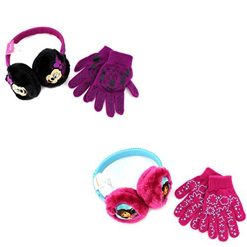 Disney Nickelodeon Girls Earmuffs and Gloves Set:   Now your sweet girl can be just like her favorite Disney and Nickelodeon characters wearing these earmuff and glove sets! Bundle up with characters like Minnie Mouse or Dora and Friends! Disney and Nickelodeon favorite characters ear muff and glove set is constructed from acrylic and polyester fabric and the headband comes in cool colors and patterns! The perfect outerwear choice for any fan of Disney or Nick! Choose your favorite or ...