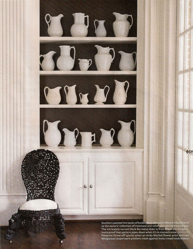 Ironstone and reliefware pitchers pop off Benjamin Moore Rural Earth paint