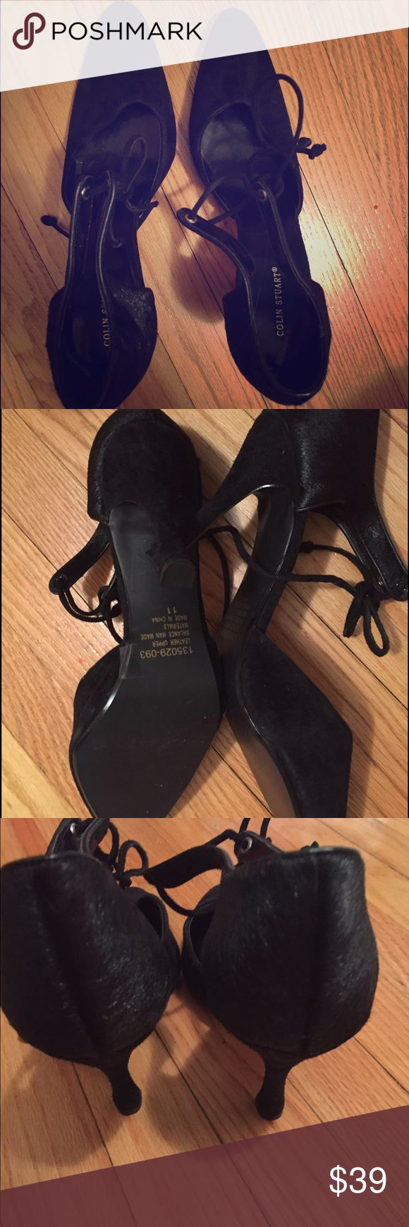 """Colin Stuart suede shoes Great condition.  Leather/suede and the part around the heel seems to be made of calf hair but shoe says man made.  4"""" heel. Very sexy show ties with a suede string Colin Stuart Shoes Heels"""