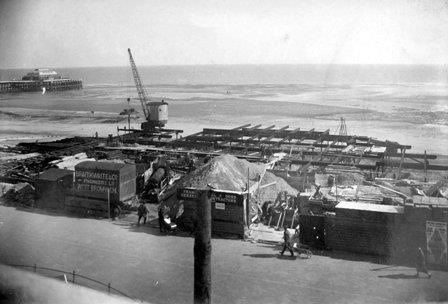 Building the Lido, Marine Parade. Worthing seafront. West Sussex England